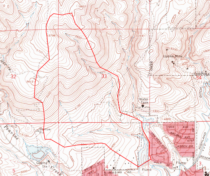 USGS map of the Ditch watershed: 1967